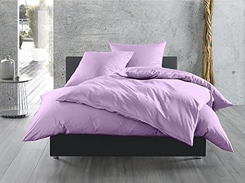 Mako-Satin Baumwollsatin Bettwäsche uni einfarbig zum Kombinieren (Bettbezug 140 cm x 200 cm, Flieder) viele Farben & Größen