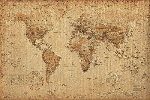 Póster Mapa del mundo estilo retro/antiguo 91
