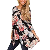 FeiBeauty 2018 Damen Bluse Frauen Blumenmuster Hülse mit 3/4 Langarm T Shirts Tops Sexy Lose Casual Hülse Sweatshirt Mode Tunika Hemd Crop Pullover Tops