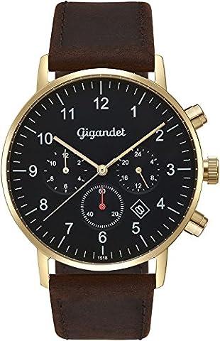 Gigandet Herrenuhr Minimalism II Armbanduhr Edelstahl Herren Zwei Zeitzonen GMT Analog Datum Lederarmband Uhr Gold Braun Schwarz G21-002