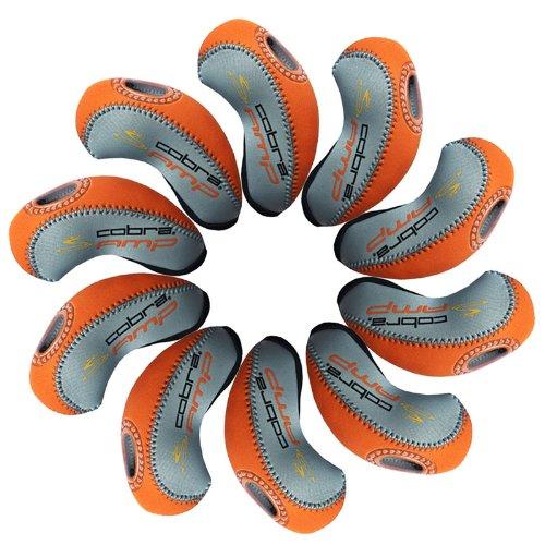 Cobra AMP golf Schlägerkopfhüllen Golf Eisen deckt Eisenhauben 10pcs/set MT/cb01 grau/orange (Neopren Deckt Eisen Golf)