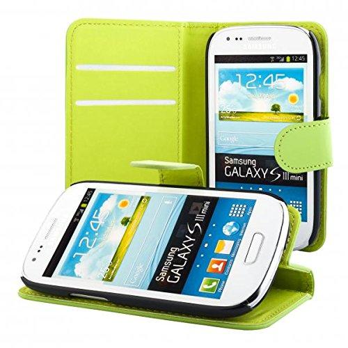 ECENCE Samsung Galaxy S3 Mini i8190 i8200 Custodia a Portafoglio Protettiva Wallet Case Cover Verde 11040104