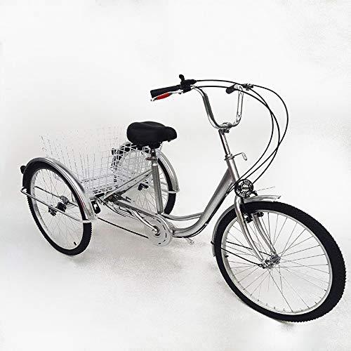 SHIOUCY tricicli Adulti velocità Bicicletta 3 Ruote Adulti con Cestino di acquisto con Faro della Bicicletta Bike, DHL (Argento)