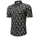 Luckycat Männer Tropical Hawaiihemd Casual Schlank Kurzarm Printed Shirt Top Bluse Mode 2018