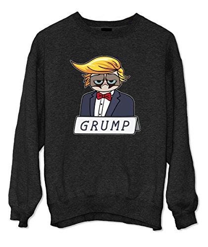 Donald Trump Komisch Caricature Grump Grumpy Cat Sweatshirt Schwarz X-Large