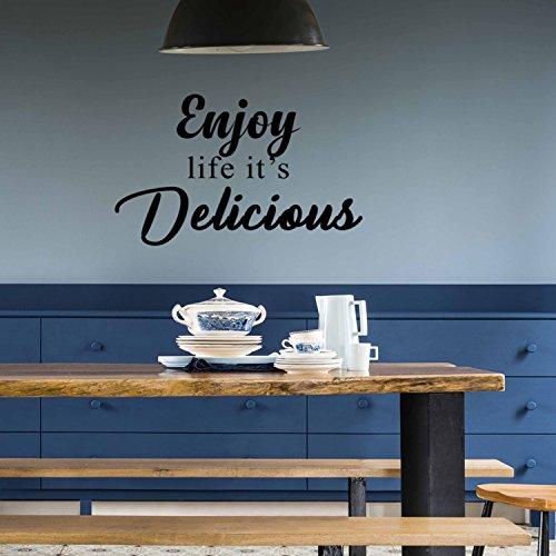 Enjoy Life it 's Delicious-Inspirierende Zitate Art Wand Vinyl Aufkleber-38,1x 58,4cm Dekoration Vinyl Aufkleber-Motivational Art Wand Aufkleber-Inspirierende Küche Decor-Trendy Art Wand (Inspirierende Wand Aufkleber)