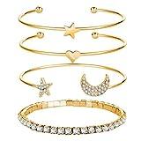 Freessom Kit de 4pcs Bracelet Manchette Femme Fille Ado Etoile Lune Coeur Diamante...