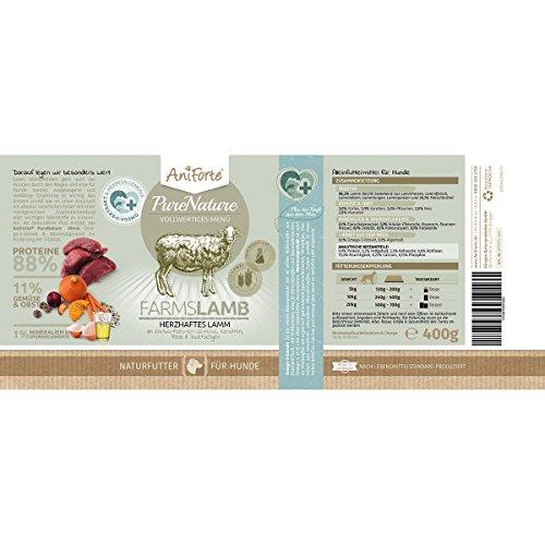AniForte® PureNature Nassfutter 5+1 getreidefrei Probierpaket 6x400g Huhn Büffel Wild Lamm Rind Hundefutter- Naturprodukt für Hunde - 3