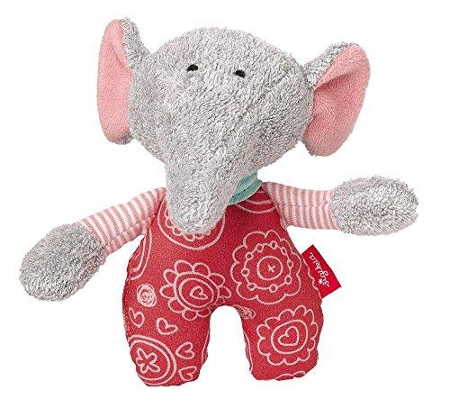 Sigikid 41964 - Mädchen, Greifling und Rassel Elefant, Ele Bele, grau/rosa