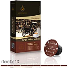 Gourmesso - cápsulas de café para cafetera Nespresso ® - 10 cápsulas de café compatibles (0,30 EUR/Cápsula) Lungo Italico Forte (Intensidad 10)