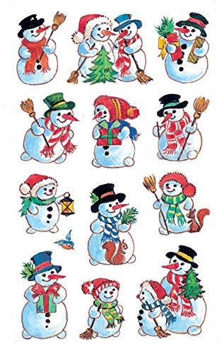 5 Weihnachtssticker Schneemänner 36 Aufkleber (Schneemann Weihnachten)