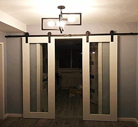 hahaemall 2,44 m Holz Double Door Hardware Biegen Stil Roller Slide Track Stahl Rad Garage Closet (Architectural Metal Panel)