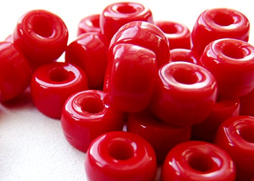50(PCS) X 6mm großes Loch Ring Spacer Rondelle Pony Crow Tschechische Glasperlen-Opaque Coral Red-C014 - Rondell Czech Pressed Glass Bead