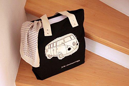 VW - Borsa per la spesa in tela, motivo: Camper, per donna, rosso Nero