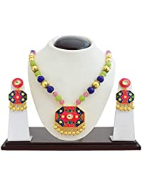 Designer Meenakari Kundan Gold Plated Floral Painted Brass Necklace Set For Women Girls And Gift