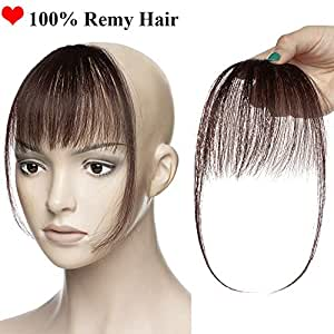 Clip in Fringe Hair Piece Human Hair 100% Remy One Piece Clip in Hair Extension Clip on Air Bangs Real Front Hair Extension with Both Side for Women (#2 Dark Brown)