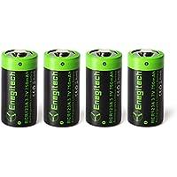 Batteriol CR123A Lithium Wiederaufladbare Batterie Akku 3.7V 750mAh RCR123A Fotobatterie für Arlo Kamera Taschenlampe, Kamera, Camcorder, Spielzeug Fernbedienung, 4-er Pack