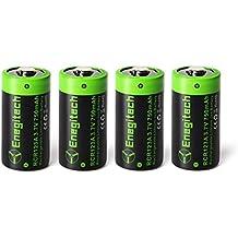 Batteriol CR123A Pilas de Litio Lithium Batería 3.7V 750mAh Recargable 16340 para Arlo Cámara Linterna Videocámara Antorcha de Juguete, Pack de 4
