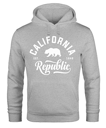 Hoodie Herren California Republic Kapuzen-Pullover Männer Neverless® California grau
