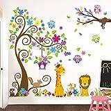 Grandora W5376 Wandtattoo Kinderzimmer Premium-Set XXL Baum Giraffe Löwe Baby Kinder Komplettset