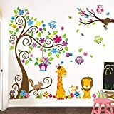 Grandora Wandtattoo Premium-Set XXL Baum Giraffe Löwe I Komplettset (Set 1 + Set 2) I Kinderzimmer Baby Kinder Sticker Aufkleber Wandsticker Wandaufkleber W5376