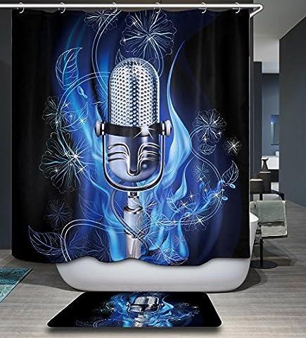 Cartoon Animal Decor Rideau de douche en polyester étanche et humide avec 12 crochets , 1 ,