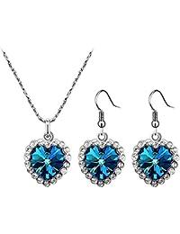 Color Jewels 3-teiliges Set Halskette & Ohrringe mit 'Herz des Ozeans'-Anhänger - Swarovski-Steine - Länge 45 cm LINK