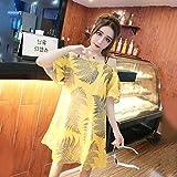 YIFUDAJIA Kleiden Sie weibliche Sommer koreanische Version des Blattdruckwortes Schulterrücken zurück hängende Bandbreite losen geraden Rock, eine Größe, rosa