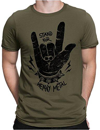 PAPAYANA - Stand for Heavy Metal Black - Herren Fun T-Shirt Bedruckt - Music Band Punk Rock - Medium - Oliv