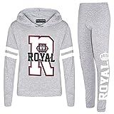 A2Z 4 Kids® Mädchen Top Kinder Designer Royal Aufdruck - Royal Hooded Set Grey 13