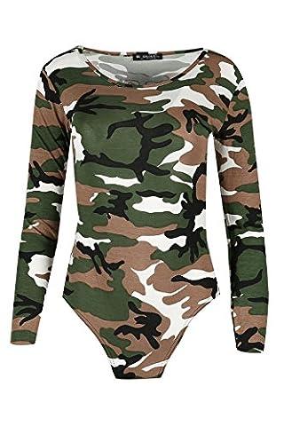 Womens Ladies Long Sleeves Round Neck Mesh Fishnet Printed Leotard Bodysuit