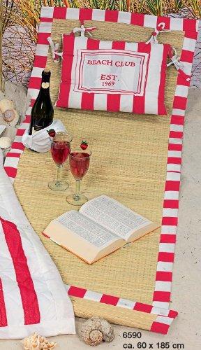 AAF Nommel®, Hochwertige Strandmatte mit Kissen und Tragegurt, naturfarbener Bast mit Stoffrand