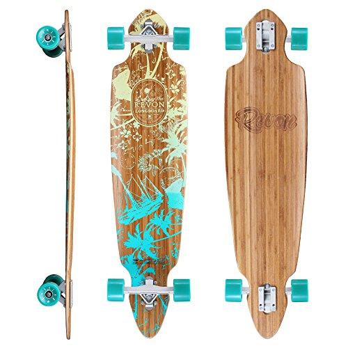 Revon™ Canadian Maple Pintail Drop Through Longboard mit ABEC 9, Komplettboard aus hochwertigen Bamboo Hoch-Präzision ABEC9 Kugellager (Sector Longboards Bamboo 9)