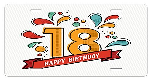 ZTLKFL 18th Birthday License Plate by, Multicolored Digital Print on Eighteen Years Happy Birthday Lettering Print, High Gloss Aluminum Novelty Plate, 5.88 L X 11.88 W Inches, Multicolor - Low Gloss Satin