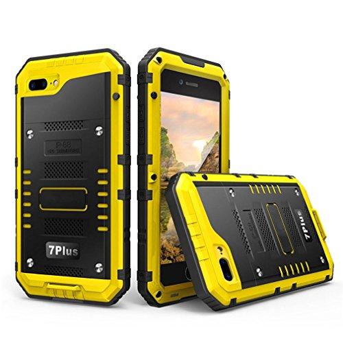 Culater® Case Cover pellicola metallica IP68 alluminio vetro sommergibile per Iphone 7 Plus 5.5inch (giallo)