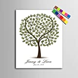 Herz Baum DIY Fingerabdruck Unterschrift Dekorative Malerei Geburtstag Party Hochzeit Leinwand Gemälde 40x60cm