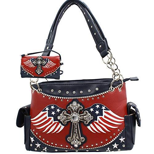 R2N fashions American Flag Stars and Stripes Western Strass Kreuz mit Flügeln versteckte Waffe Handtasche und Geldbörse Set -