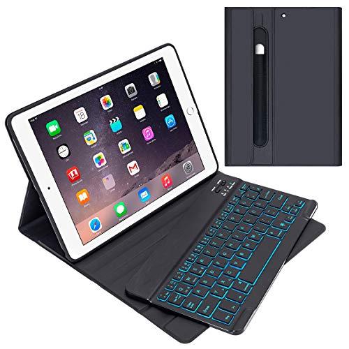 GACHI Tastatur Hülle 9.7 kompatibel mit iPad 2018(6. Gen.), 2017 iPad (5. Gen.), iPad Air 2, iPad Air, Pro 9,7 Magnetische Abnehmbare Deutsche Tastatur mit 7 Farbiger Backlight und Bleistifthalter - Für 2 Air Ipad Tastatur Portable