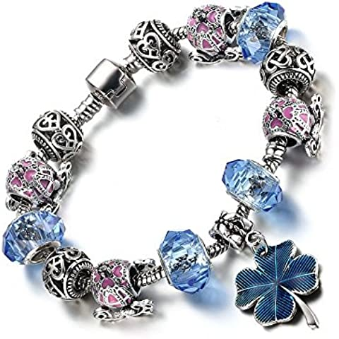 Vnox Argento placcato vetro di Murano Perle Charm Quattro Lucky Clover braccialetto di amicizia di collegamento per le donne il migliore regalo