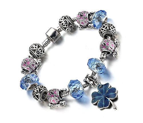 Vnox Argento placcato Murano Perle di vetro blu fascino trifoglio dei quattro braccialetto fortunato di collegamento di amicizia per le donne il migliore regalo 20 centimetri