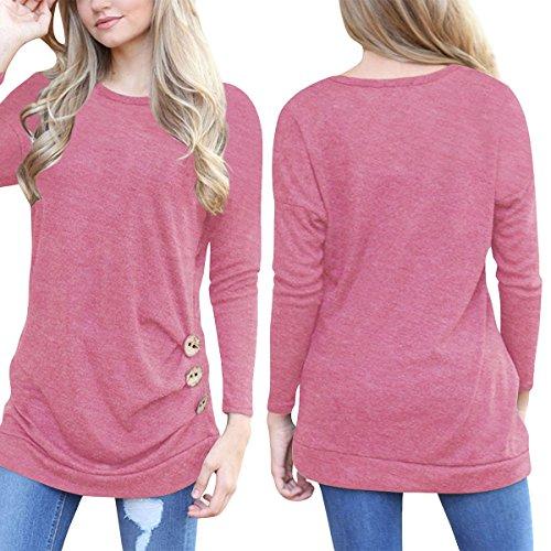 Swallowuk Donna Eleganti Manica Lunga Top Camicia Rotondo Collo Magliette Casual Camicetta T-shirt (S, porpora) rosa