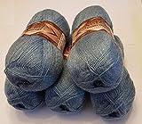 5 x 100 g Alize Glitzerwolle, Angora Gold Simli Effektwolle einfarbig, 500 Gramm Metallic - Wolle mit 20% Woll-Anteil #665