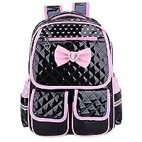 FNTSIC Cute Princess School Bags PU Leather Children Backpacks Large Capacity Lightweight Shoulder Bags for Teenage Girls, Kids