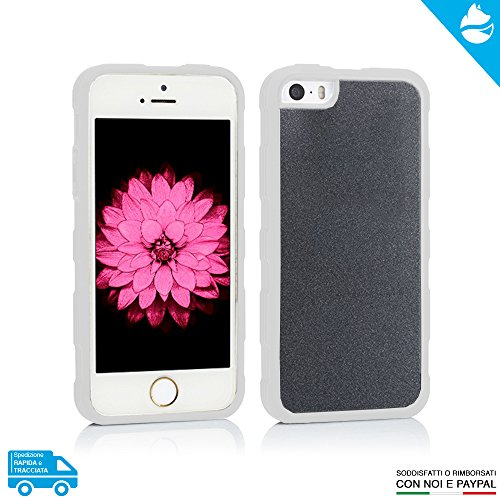 ARCTIC FOX Case Cover Custodia Anti Gravity Gravità Selfie Magic Magica Rimane Attaccata Alle Superfici Lucide Colore FUCSIA Per Apple iPhone 5 - 5s - SE + Pellicola Bianco