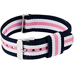"""RE:CRON women wristband watch nylon with stainless steel clasp 18 mm 0.71"""" wide compatible with Daniel Wellington watches - dark blue white pink"""