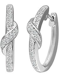 Naava Women's Diamond 9 ct White Gold Hoop Earrings