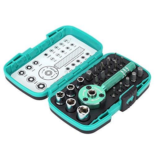 Augenbrauenbürste Multifunktionale Palm Ratsche Schlüssel Bit 1/10,2cm Treiber Socket Set Schraubendreher Kit Repair Tool ()