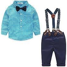 ARAUS Neonato Bambini Pagliaccetto Salopette Suit Formali Camicia A Quadri + Salopette (3-18 Mesi)