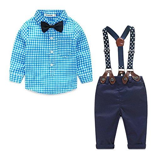 Blau Karierte Hose (ARAUS-Baby Jungen Bekleidung Set Hemd Hose mit Hosenträger langarm karierte Hemd mit Fliege Latzhosen blau 90)