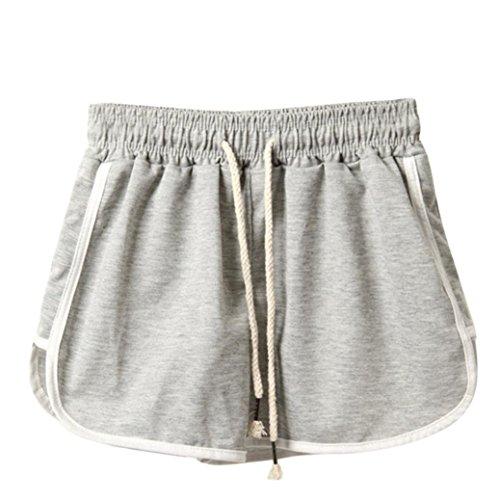Shorts Damen Sommer BakeLIN Sport Kurze Hose Lose Strand Hot Pants (Schwarz Grau Marine Weiß, S~XXXL) (L, Grau)